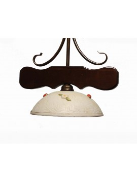 Classic sunflower wood and ceramic chandelier 1 light coll. Dark Greta