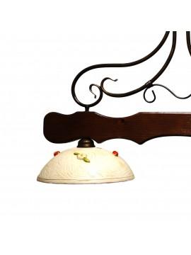 Classic barbell in wood and ceramic sunflower 2 lights coll. Dark Greta