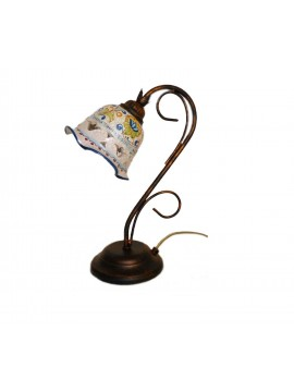 Classic rustic Sicilian ceramic table lamp 1 light coll. Flower