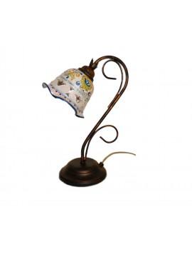 Lumetto classico rustico in ceramica siciliana 1 luce coll. Fiore
