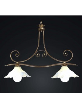 Classic barbell in wrought iron with 2 lights BGA 1732-b2