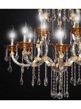 Lampadario classico cristallo design swarovsky 12 luci BGA 1803-8-4 oro