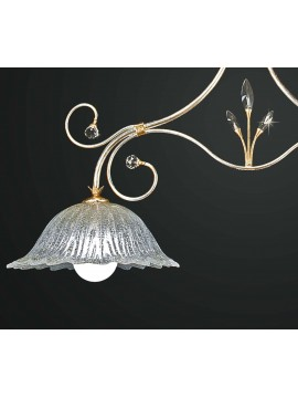 Classic barbell in wrought iron and crystal 2 lights BGA 1840-b2