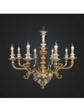 Classic chandelier brass gold and ceramic with 8 lights BGA 1887-8