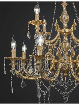 Classic brass and swarovsky crystal chandelier with 12 lights BGA 1888-8-4