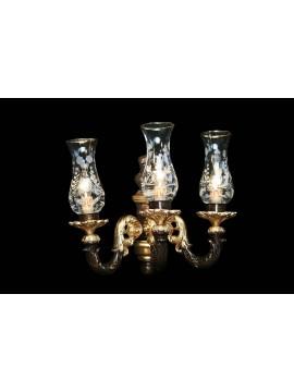 Applique classico 3 luci in legno foglia oro e marrone BGA 1583-A3