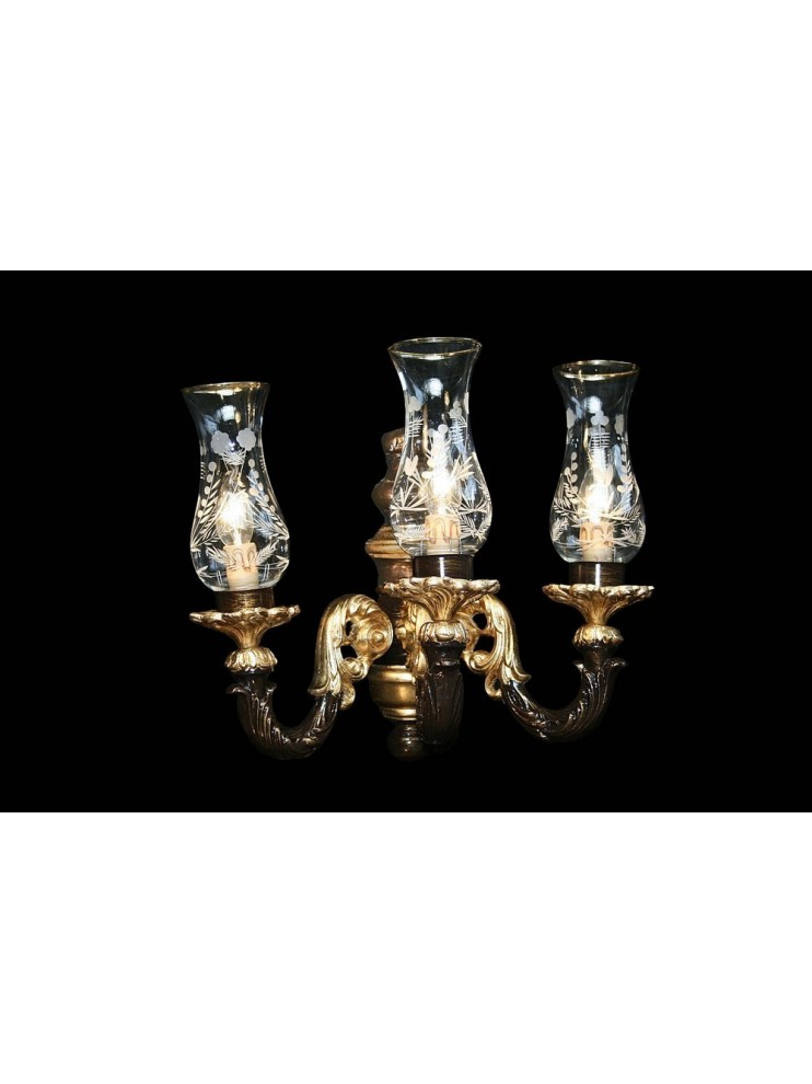 Classic 3 lights wall lamp in gold and brown leaf wood BGA 1583-A3