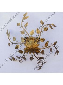 Plafoniera classica in ferro battuto oro antico 4 luci coll. Arte d.55