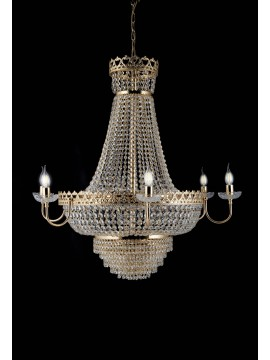 Classic gold chandelier with 10 lights crystals LGT Andrew sp6 d.80 swarovsky design