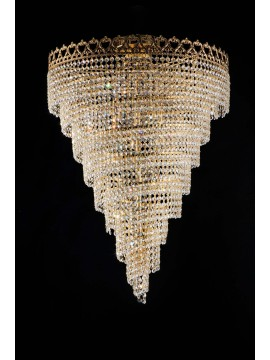 Classic gold ceiling light with 6 lights crystals LGT Andrew pl6 d.50 swarovsky design