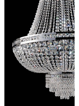 Modern chromed chandelier with 6 lights crystals LGT Mercurio d.45 swarovsy design