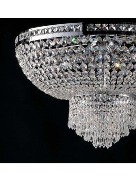 Modern chromed ceiling light with crystals 6 lights LGT Mercurio d.55 swarovsy design