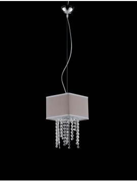 Modern chandelier in dove gray fabric and crystal 1 light LGT Jolie sp1 d.20