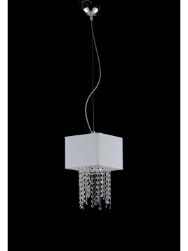 Modern chandelier in white fabric and crystal 1 light LGT Jolie sp1 d.20