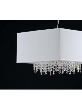 Modern chandelier in white fabric and crystal 5 lights LGT Jolie sp1 d.50