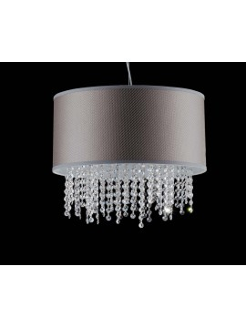 Modern chandelier in dove gray fabric and crystal 5 lights LGT Jolie sp5 d.45
