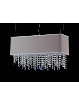 Modern chandelier in dove gray fabric and crystal 6 lights LGT Jolie sp6 60x20