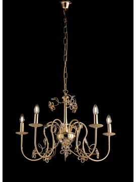 Classic gold chandelier with 5 lights crystals LGT Alfiere swarovsky design