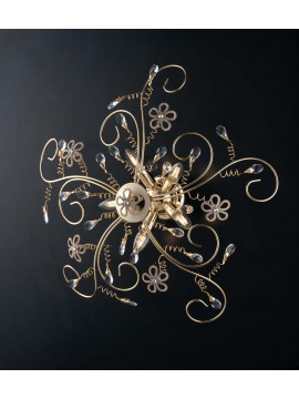Classic gold ceiling light with 5 lights crystals LGT Alfiere swarovsky design
