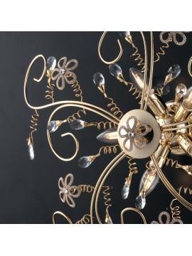 Plafoniera classica oro con cristalli 5 luci LGT Alfiere design swarovsky