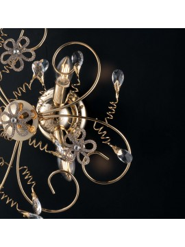 Classic gold ceiling light with 3 lights crystals LGT Alfiere swarovsky design