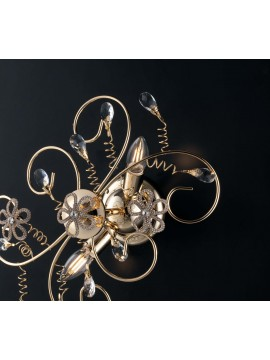 Classic gold ceiling light with 2 lights crystals LGT Alfiere swarovsky design