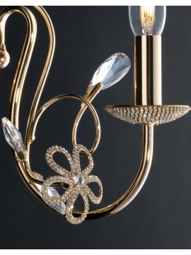 Classic gold wall light with crystals 1 light LGT Alfiere swarovsky design
