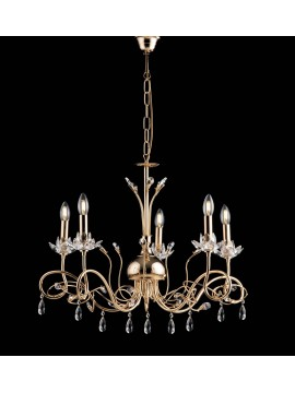 Classic gold chandelier with 5 lights LGT kos gold swarovsky crystals