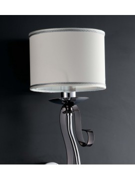 Modern wall lamp with lampshade 1 light LGT Mina black and chrome