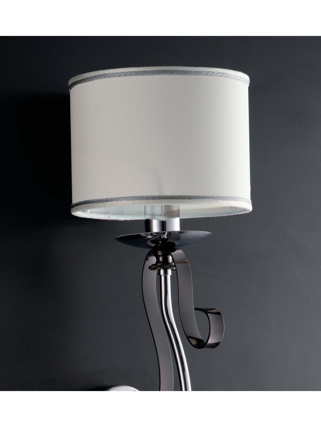 Applique moderno con paralume 1 luce LGT Mina nero e cromato