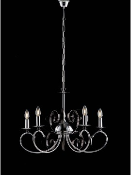 Modern chandelier 5 lights LGT Mina black and chromed