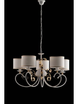 Contemporary 5 lights chandelier LGT Alina white and gold