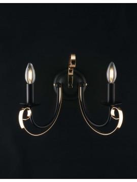 Applique moderno a 2 luci LGT Noir nero opaco e oro