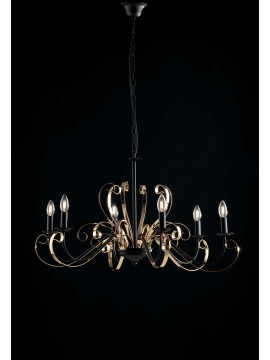 Modern 6 lights chandelier LGT Noir matt black and gold
