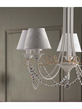 Contemporary chandelier 5 lights LGT Charlotte white and gold