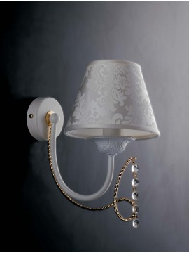 Contemporary 1-light wall light LGT Charlotte white and gold