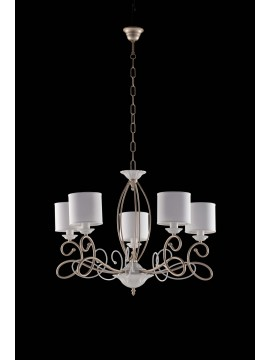 modern contemporary chandelier 5 lights LGT Aurora white gold