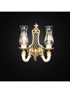 Classic 2 lights wall lamp in gold leaf wood BGA 1584-A2-PIC