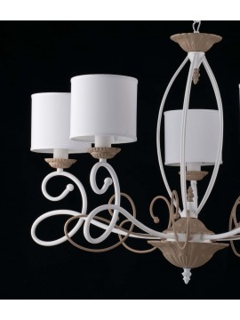 5 lights contemporary LGT Aurora chandelier in white-dove gray