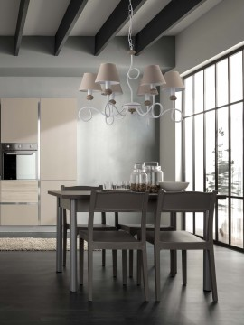 modern contemporary chandelier 6 lights LGT Eclisse white-dove