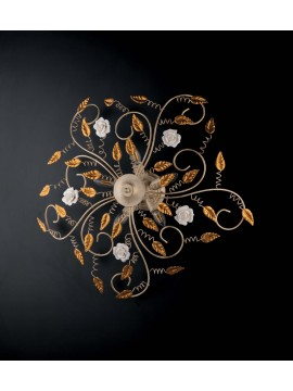 Classic wrought iron ceiling light with roses 5 lights LGT Bouquet gold