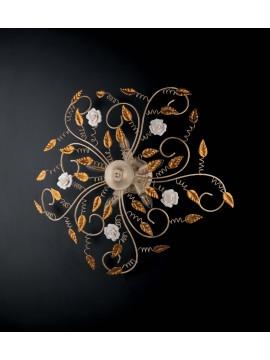 Plafoniera classica in ferro battuto con rose 5 luci LGT Bouquet oro