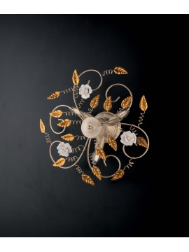 Classic wrought iron ceiling light with roses 3 lights LGT Bouquet gold