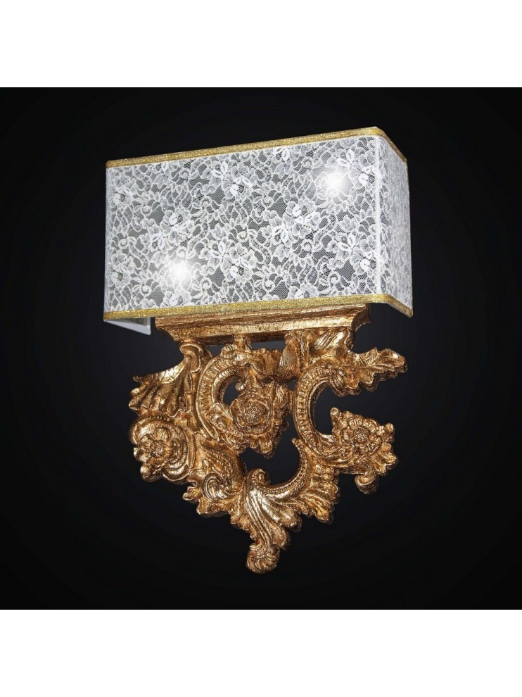 Classic 2 lights wall lamp in gold leaf wood and BGA 2657 / AP lace