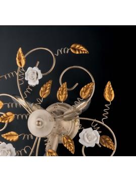 Plafoniera classica in ferro battuto con rose 3 luci LGT Bouquet oro