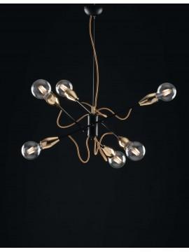 Modern minimal vintage 6 lights chandelier LGT Fil black-gold