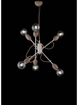 Lampadario moderno vintage minimal 6 luci LGT Fil bianco-tortora