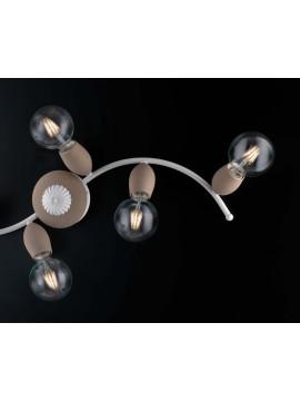 Plafoniera moderna vintage minimal 6 luci LGT Fil bianco-tortora
