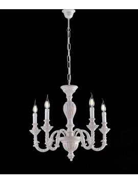 Lampadario classico in legno bianco shabby chic 5 luci LGT Margò