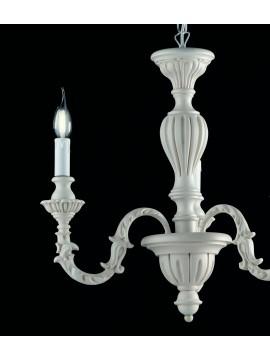 Lampadario classico in legno bianco shabby chic 3 luci LGT Margò